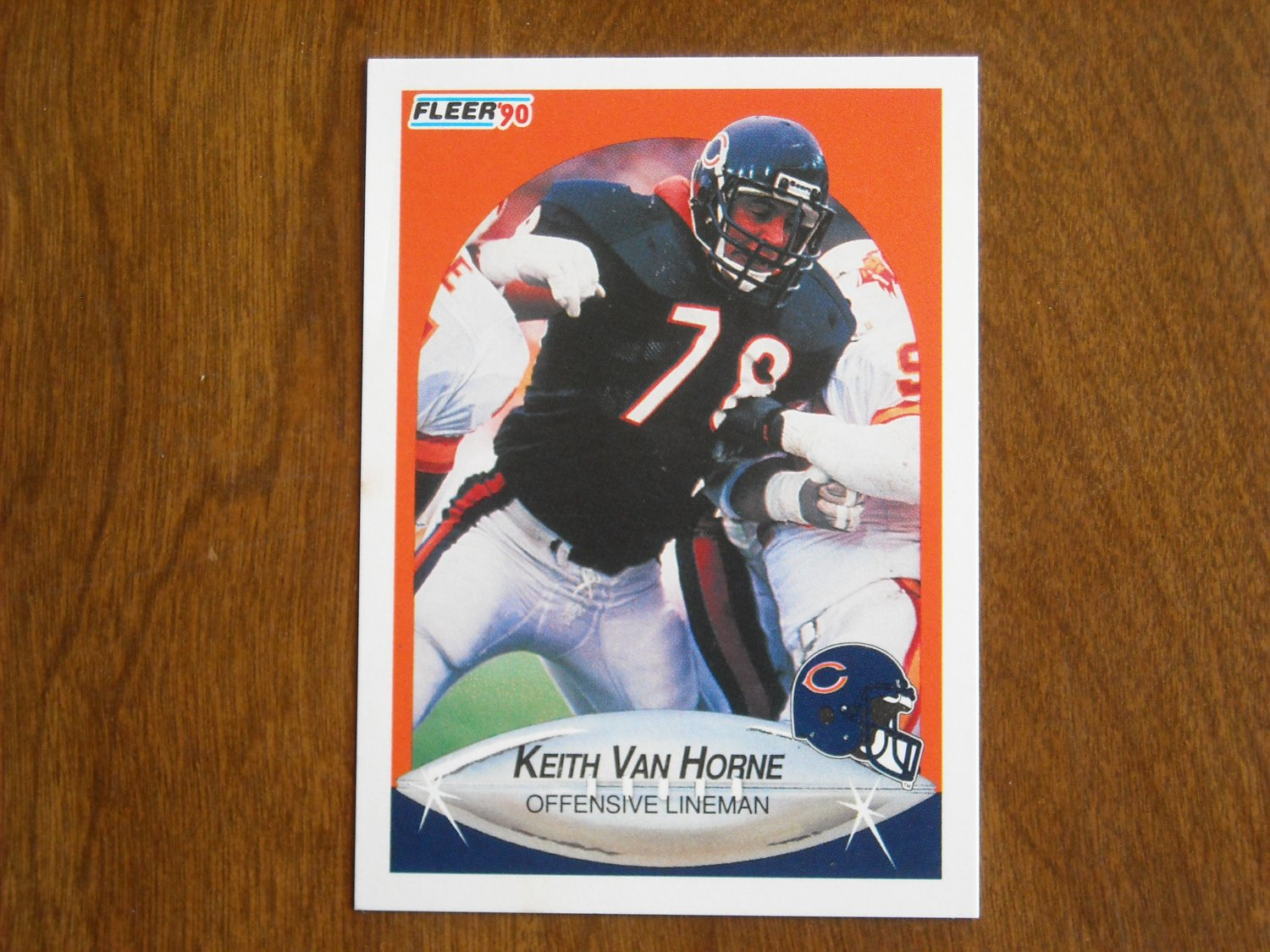 Keith Van Horne Chicago Bears Offensive Lineman Card No. 302 - 1990 Fleer Football Card