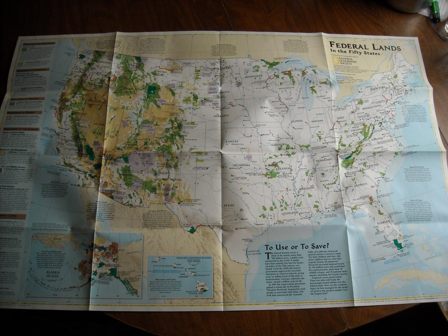 National Geographic Double sided Map The Federal Lands In the Fifty States Physical Landscape (1996)