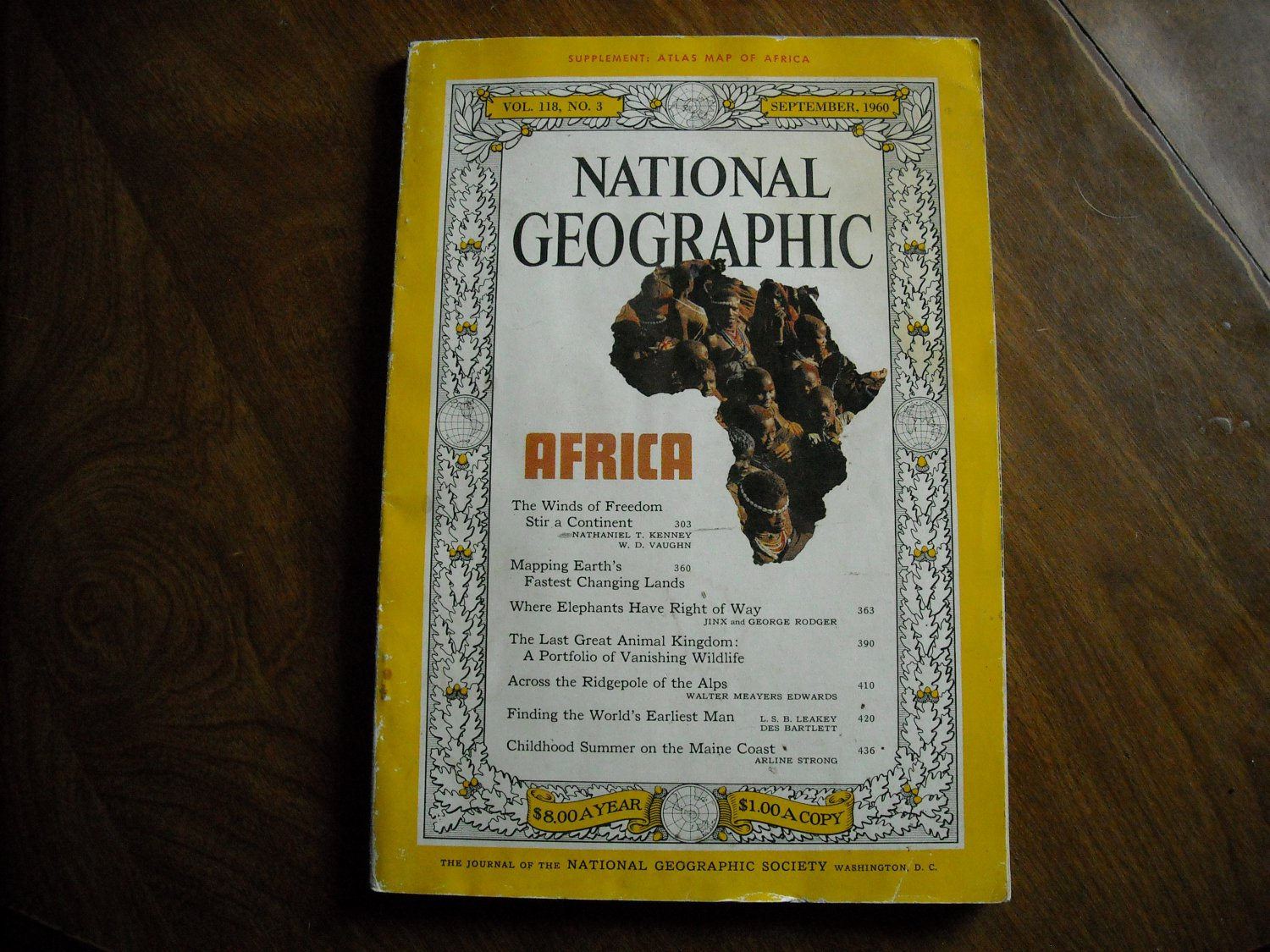 National Geographic Vol. 118 No.3 September 1960 Africa Alpine Cableway earliest man Maine (G4)