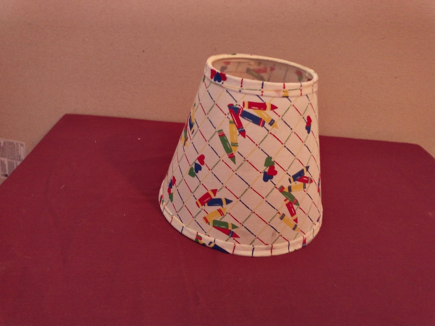 White Lamp Shade for Kids Room with Hearts and Crayons