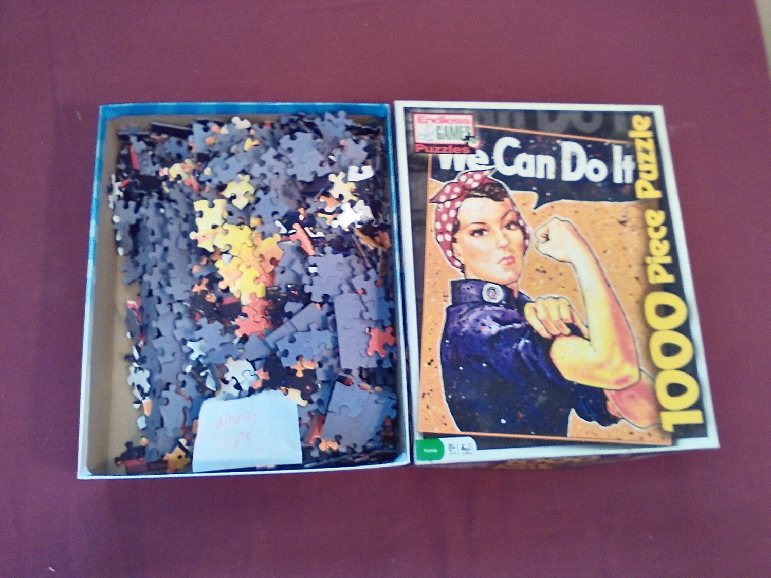 """We Can Do It Rosie the Riveter 1000 Piece Endless Games Jigsaw Puzzle 19"""" x 26""""  (mw) missing 1 pc"""