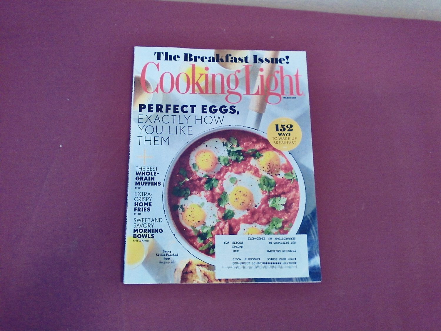 Cooking Light March 2017 Vol. 31 No. 2 - The Breakfast Issue Perfect Eggs (G1)