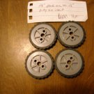"KNEX 8 pc - Black 2.5"" Black Tire Part No. 91975 with Gray Pulley Insert 1.5"" Part No. 90978"