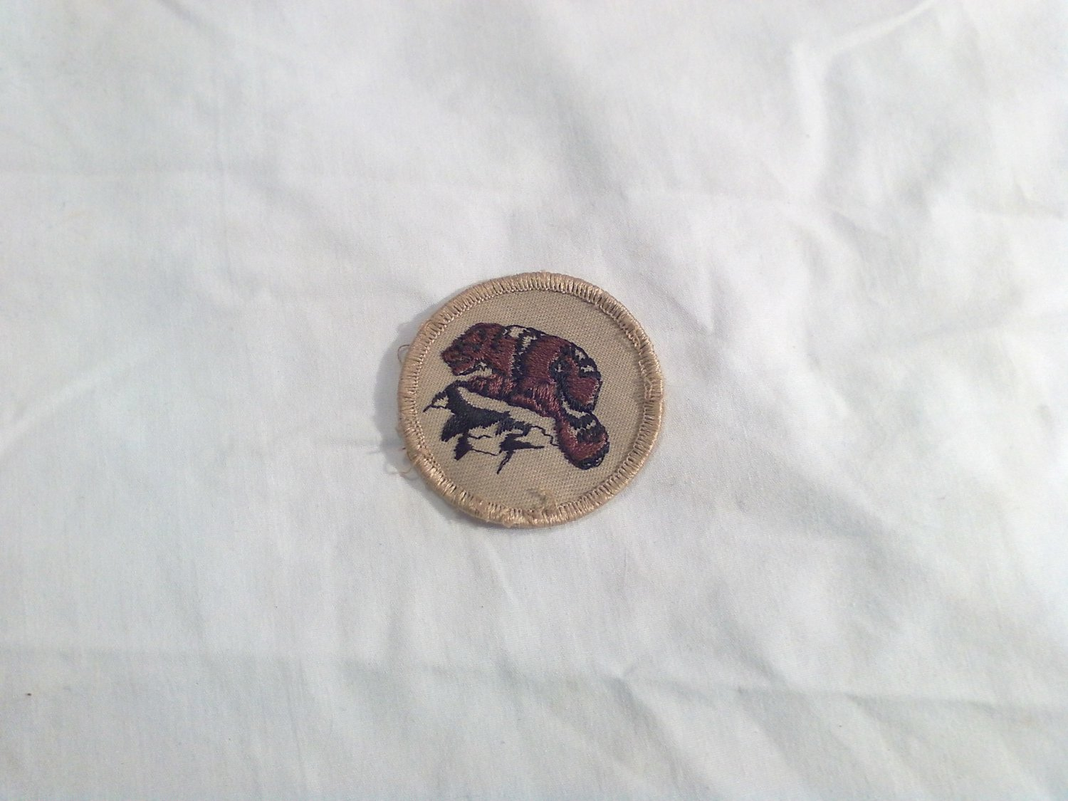 BSA Boy Scouts Brown Beaver or Badger Wildlife Circle Merit Sew On Badge / Patch (p 6)