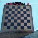 Wooden Checker Board that Folds and Stores Pieces - Magnets keep it closed