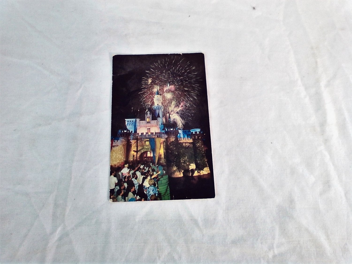 Disneyland FANTASY IN THE SKY Postcard Fireworks over the Castle in Anaheim California