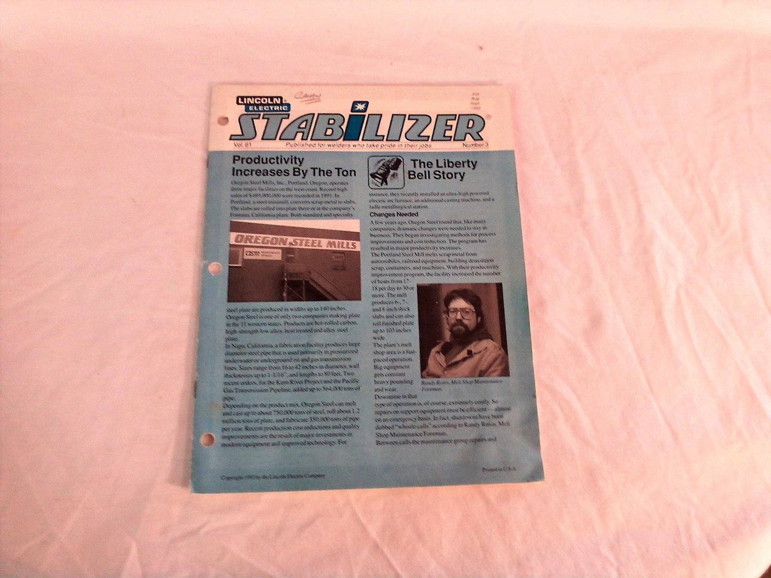 Lincoln Electric Stabilizer Periodical July / August / September 1992 Vol. 61 No. 3