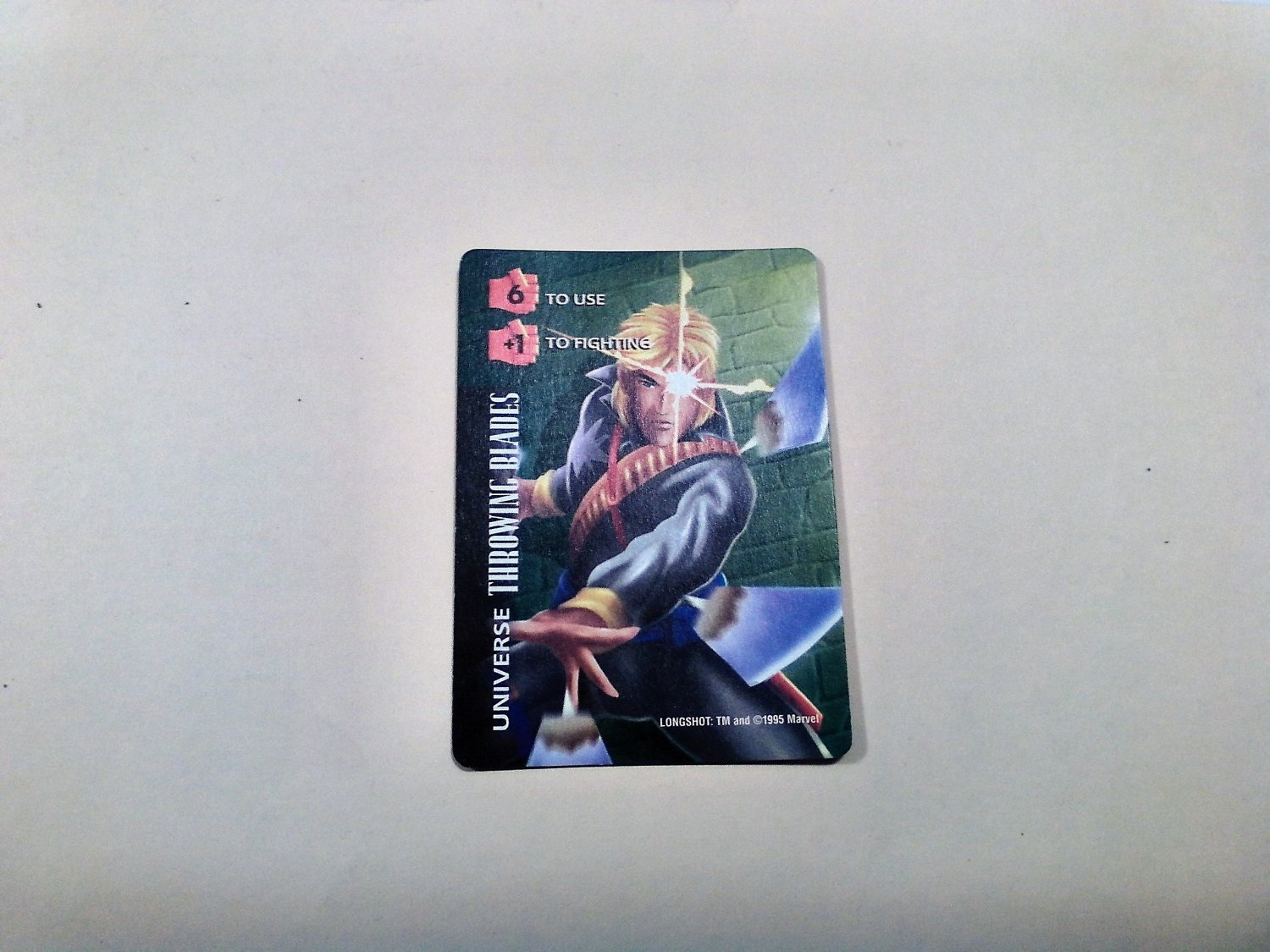 Marvel OverPower - Longshot Throwing Blades No. 339 Common, Universe Card (1995) Fleer