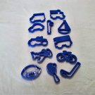 Twelve Large Blue Cookie Cutters - Vehicles and Sports (CMB5) Cars, Trucks, Bikes and More