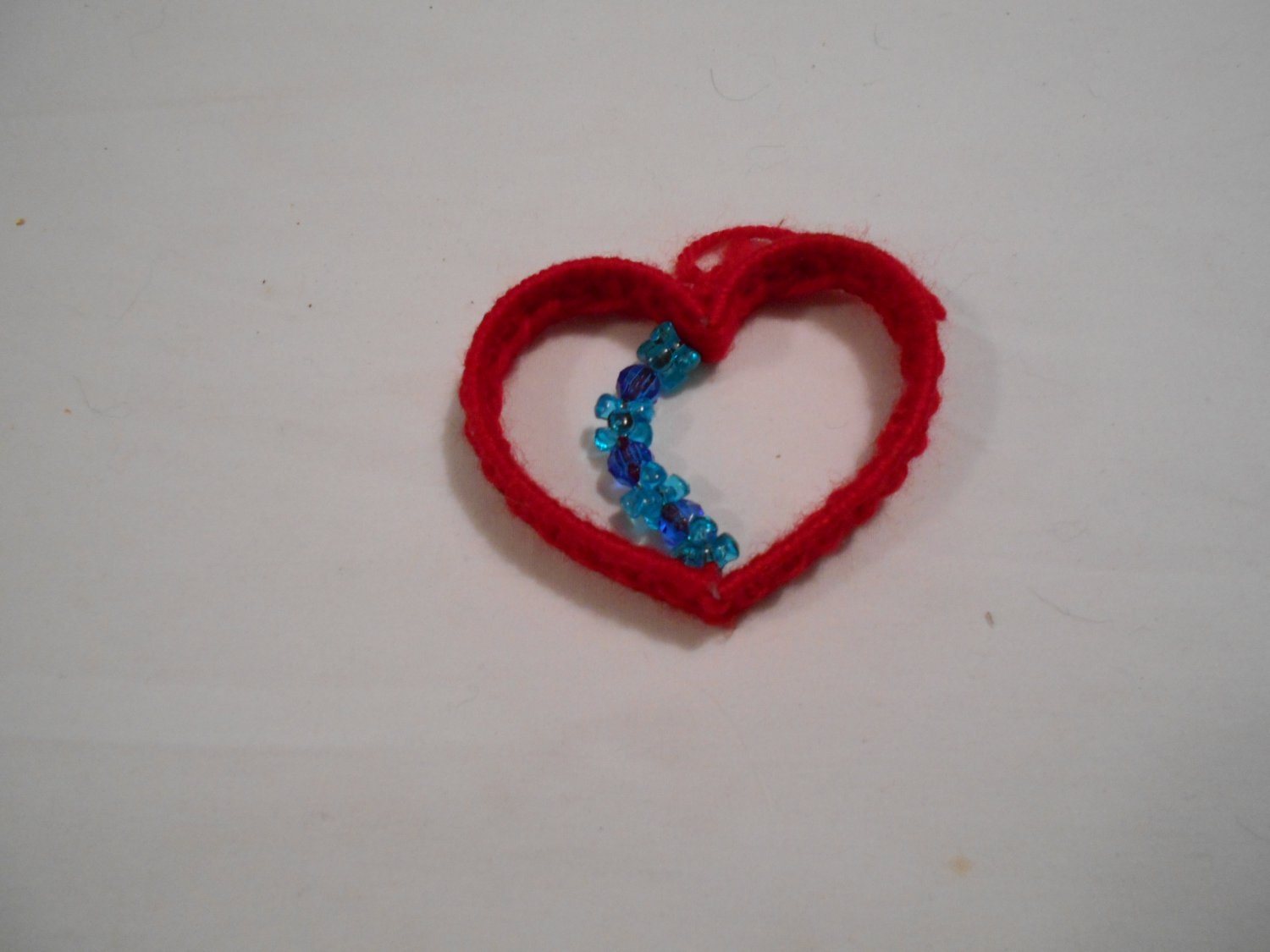 Handcrafted Plastic Red Heart with Blue Beads (BB59) (PL) Crafts, Handmade