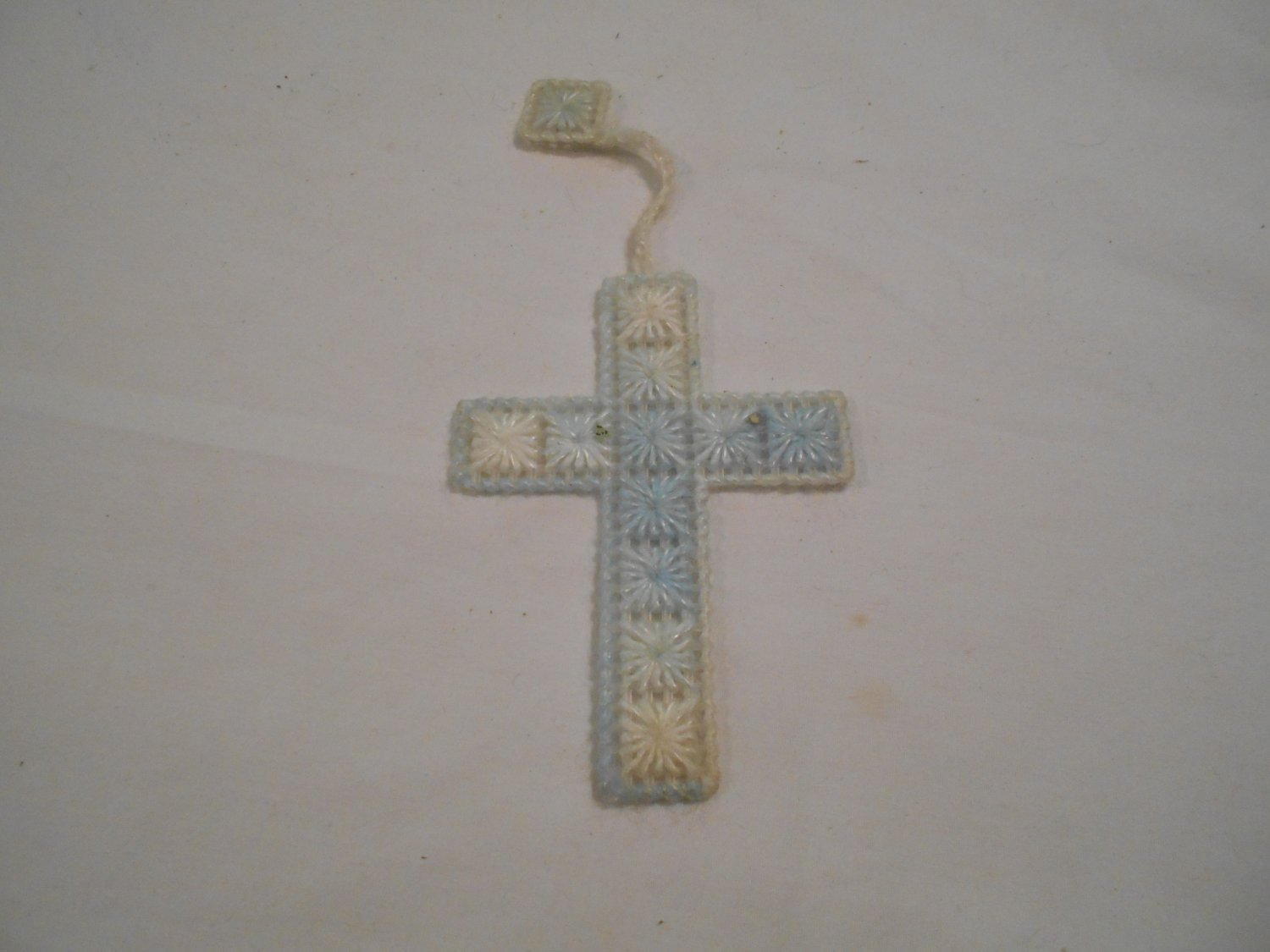 Handcrafted Plastic Canvas Blue and White Bookmark (BB59) (PL) Cross, Handmade
