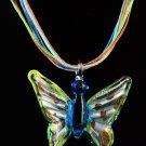 BLUE GLASS BUTTERFLY NECKLACE