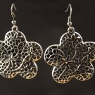 Image Silver Colour Fret Work Flower Earrings