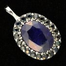 GLA Appraised 15 ctw. Genuine Blue Sapphire Pendant in Sterling Silver