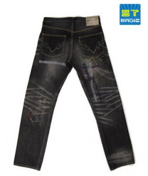 HED309 Washed Selvedge Denim with Colored Paint Dots
