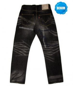 HED 501B Washed Selvedge Denim with Navy Heart Stitches
