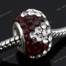 Deep Red Czech Crystal 925 Silver Hole Loose Bead Findings Fit Charm Bracelet