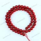 7-8MM FIRE RED SEA CORAL ROUND BALL LOOSE BEADS FINDINGS 1 STRAND