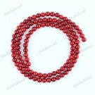 4-5MM FIRE RED SEA CORAL ROUND BALL LOOSE BEADS FINDINGS 1 STRAND
