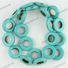 20MM TURQUOISE HOWLITE GEMSTONE HOLLOW ROUND LOOSE BEADS FINDINGS