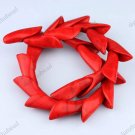 FIRE RED TURQUOISE HOWLITE FLOWER LOOSE BEADS FINDINGS 15X38MM
