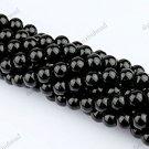 8MM BLACK AGATE ONYX GEMSTONE ROUND BALL LOOSE BEADS FINDINGS 1 STRAND
