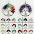 Gemstone Amethyst Crystal Agate Chakra Chips Beads Tree of Life Silver Pendants