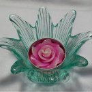 Flower green Glass put candle
