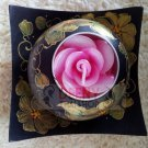 Green golden Art painting pot Candle Kala by handmade