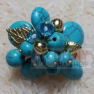 Blue flower stones ring by handmade