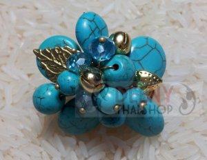 Blue flower stones ring by handmade