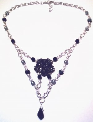 Elegant Navy and Black Necklace, Must see!