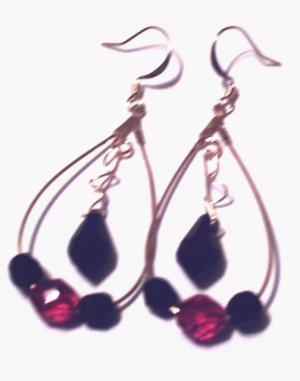 Red/Black Curled Dangle Hoops