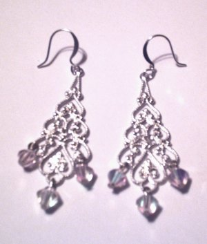 Chandelier Style with Pink & Clear Dangle Accents