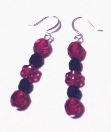 Black and Ruby Flower Earrings