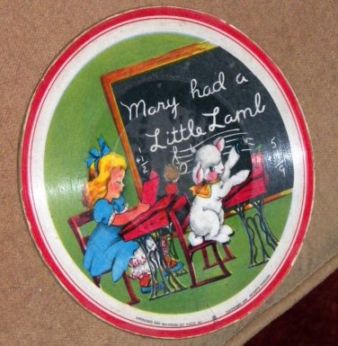 "Mary Had A Little Lamb/Nellie Neat - 1948 Voco Plastic on Cloth 78 RPM 7"" Picture Record"
