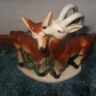 Beautiful Two Deer Planter With Majolica Back Drop Unmarked