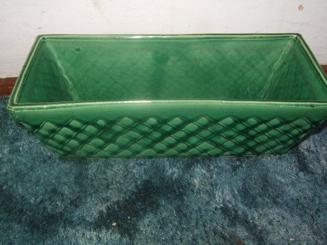 Green McCoy Rectangular Pot 3.5 by 11 Inches Long