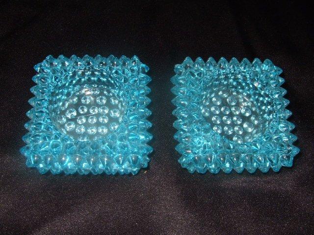 2 Hobnail Fenton Ashtrays Light Blue 2.75 Inches Square