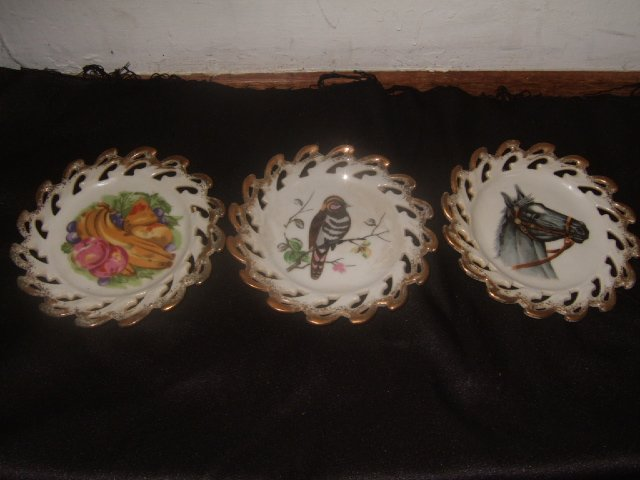3 Japanese Import Hanging Wall Plates With Gold Trim
