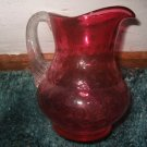 Small Glass Cranberry Pitcher Possibly Fenton 4.5 Inches Tall