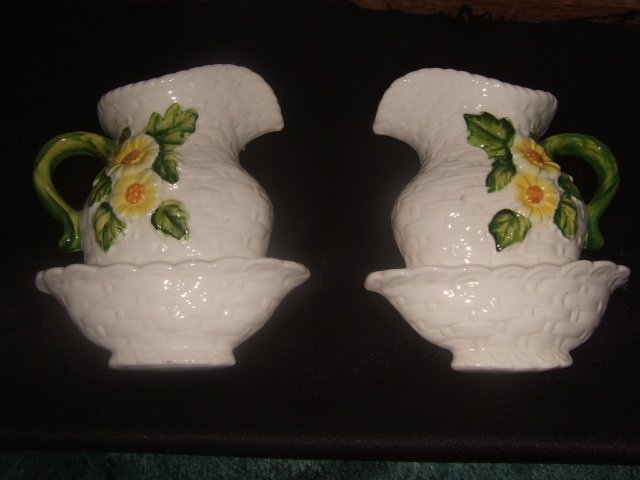 Pair of Lefton Wall Hangers White Flowered Pitcher