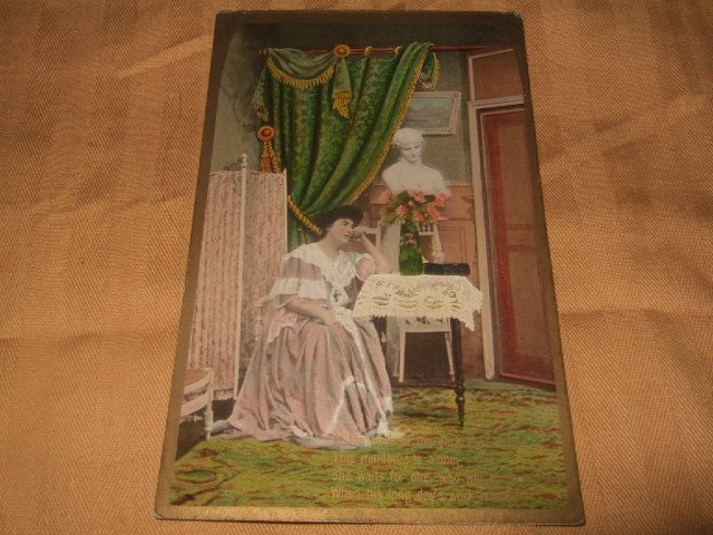 German Maiden Scene Postcard Rel Emaille Serie No. 3025
