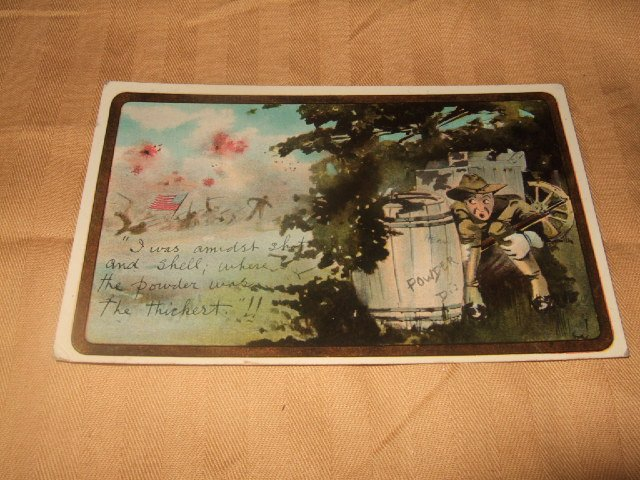I Was Amidst Shot And Shell Army Postcard 1910's