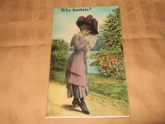 Why Hesitate? Postcard 1910's