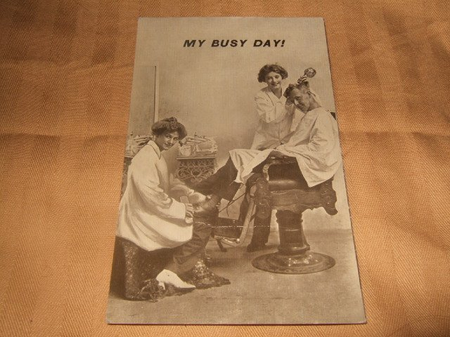 My Busy Day 1910's Black And White Postcard