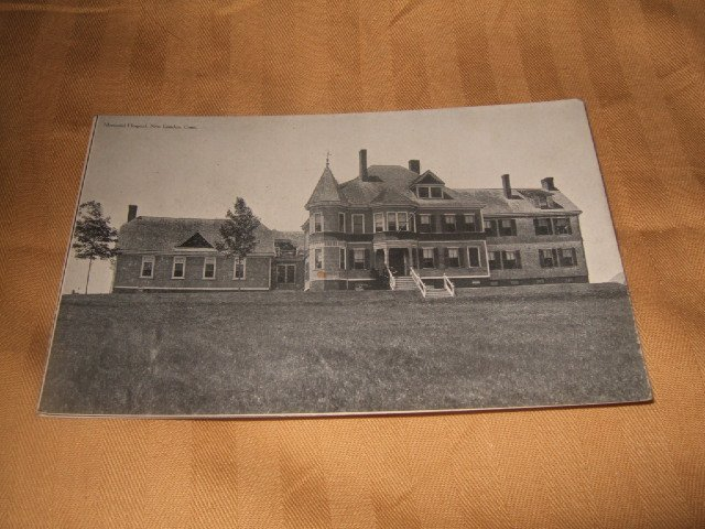Memorial Hospital, New London Conn. Black And White One Cent Postcard 1910's