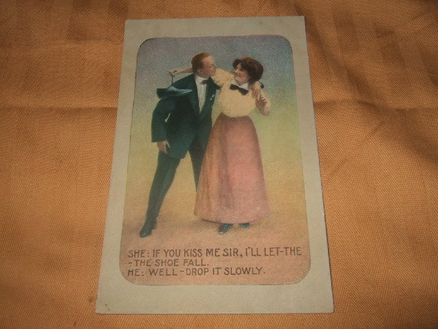 I'll Let The Shoe Fall 1910's Postcard Series 201