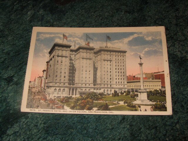 St. Francis Hotel & Union Square Hotel 1910's Panama Pacific Postcard
