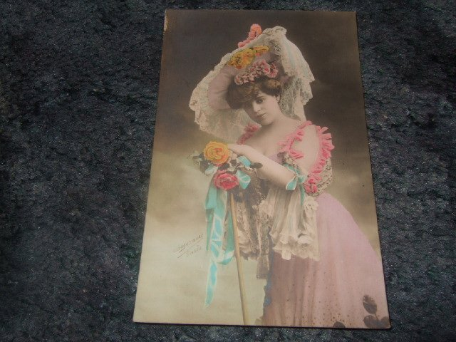 Victorian Lady Color Postcard French